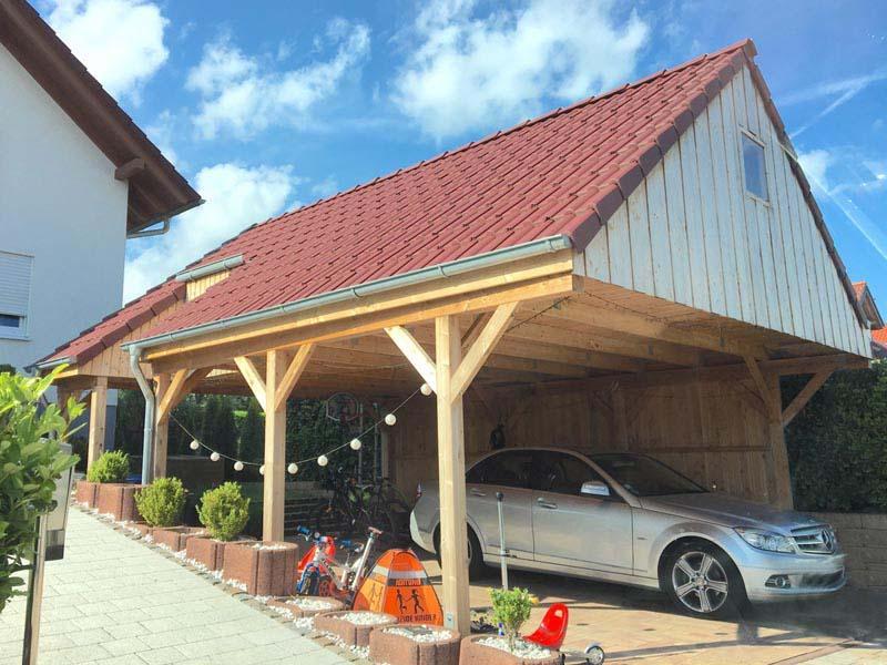 Carport mit Satteldach und Eindeckung