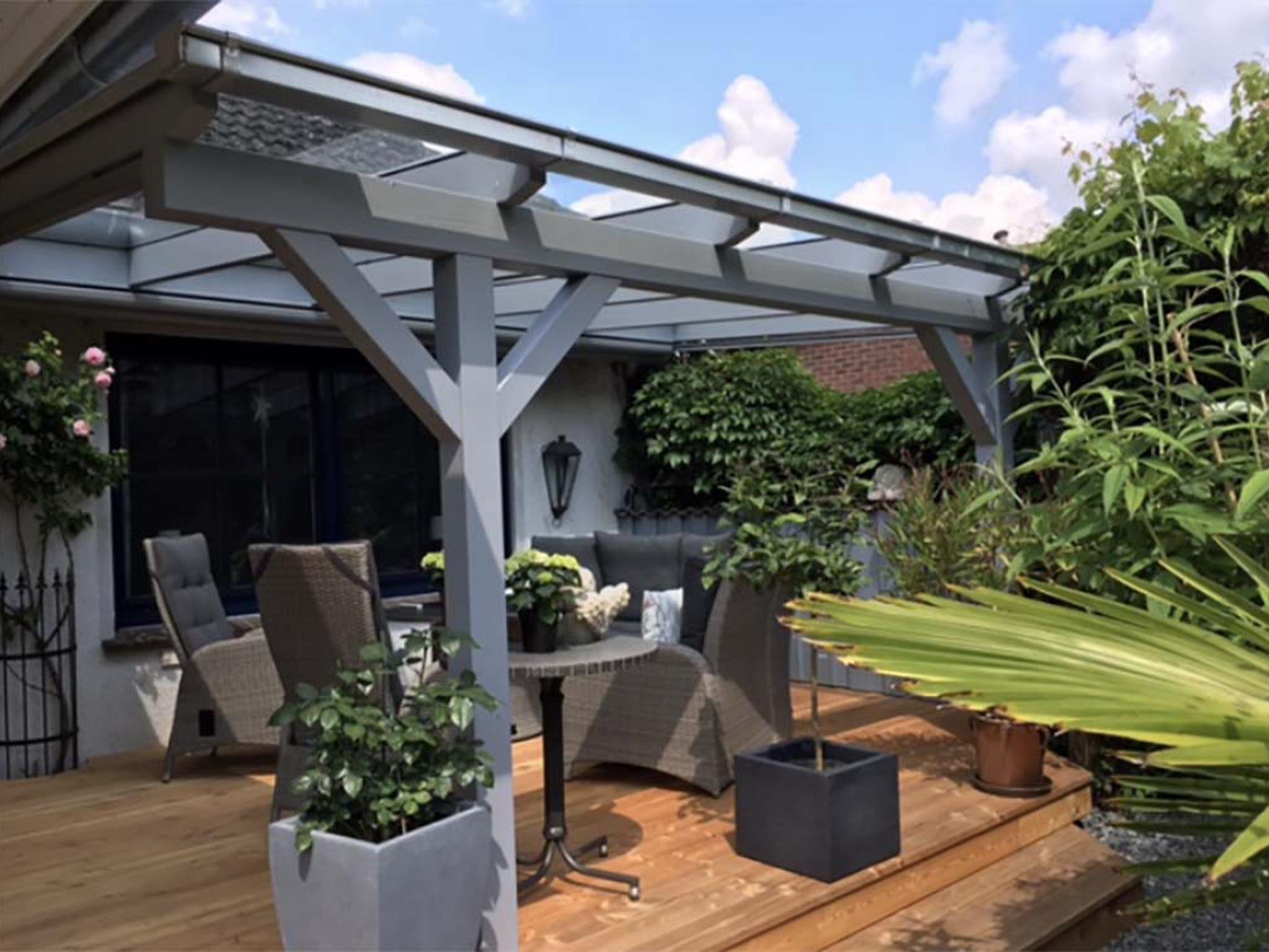 Terrassenüberdachung Holz anthrazit und VSG